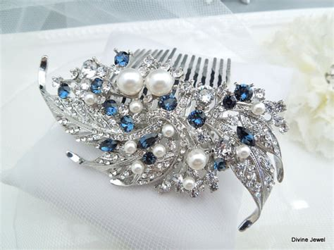 wedding hair accessories blue blue swarovski and pearl wedding comb wedding hair