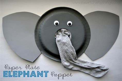 paper plate elephant puppet craft i crafty things