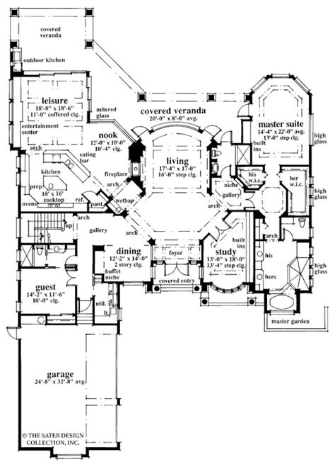 Home Plan Brendan Cove | Sater Design Collection in 2019 | House plans, House floor plans