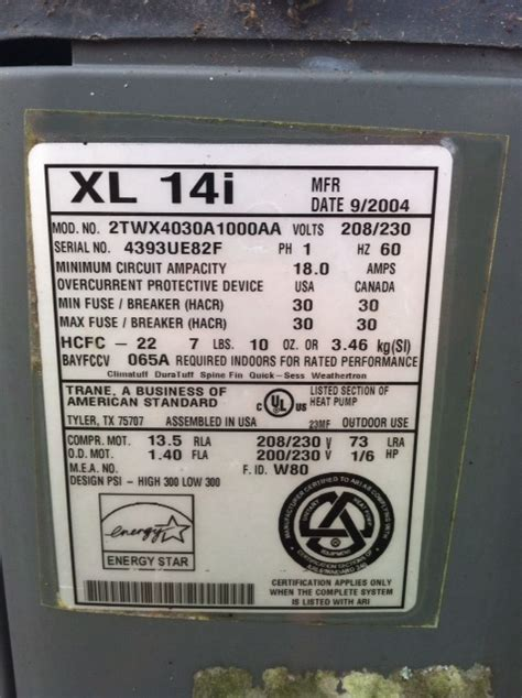 capacitor for trane xl14i i a trane xl14i ac it is not coming on outside i do