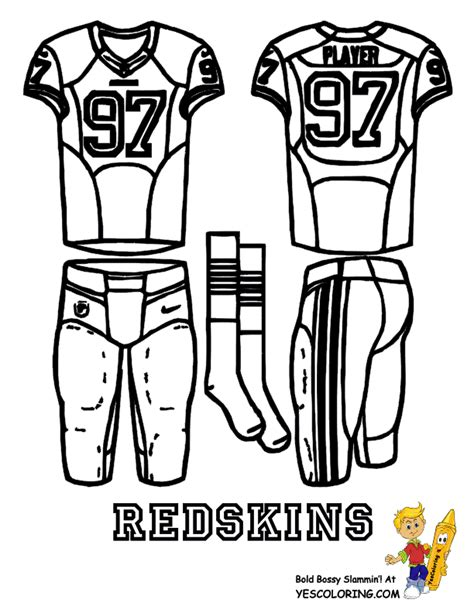 nfl uniform coloring pages washington redskins team page at nflcom party