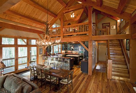 Log Cabin Open Floor Plans by Mountain Retreat Timber Frame Residential Project Photo