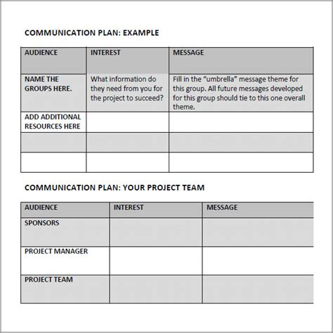 marketing communication plan template exle 9 communication plan template