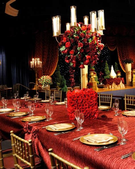 Beauty and the Beast inspired wedding reception. #red #