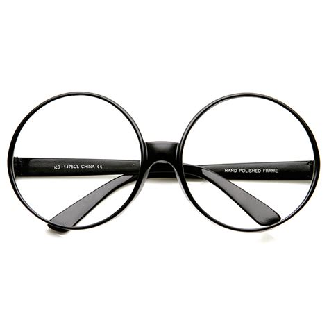 large oversized thick frame circle clear lens