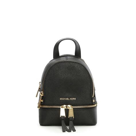 Tas Ransel Michael Kors Mk Rhea Mini Backpack Original lyst michael kors rhea mini black leather zip backpack in black
