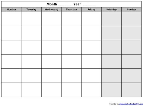 monday through saturday calendar template 8 best images of blank printable weekly calendars