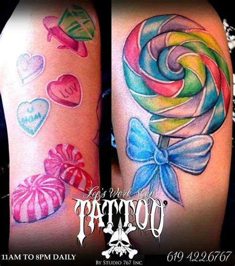 candy sleeve tattoo designs lollipop tattoos