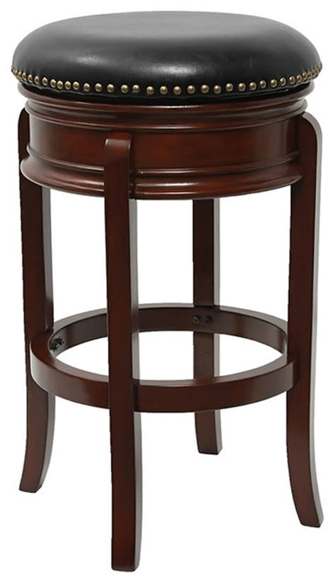 Cherry Wood Bar Stool by 29 Quot Backless Cherry Wood Bar Stool With Black Leather
