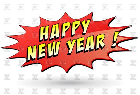 speech bubble with wording happy new year comic blast
