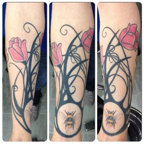 bee rose vine tattoo on arm tattooshunt com