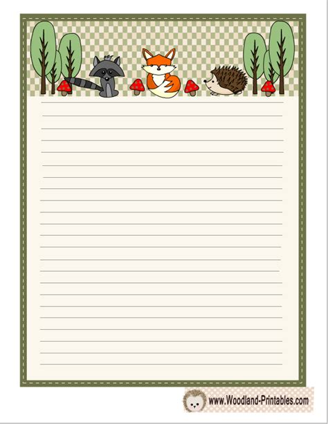 printable lined paper with animal border woodland writing paper featuring hedgehog fox and raccoon