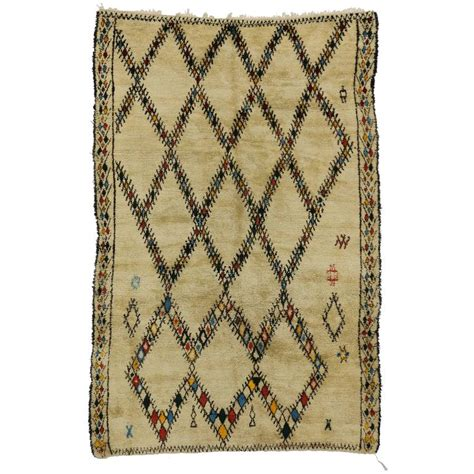 beni ourain style rug mid century modern vintage beni ourain moroccan rug with tribal style for sale at 1stdibs