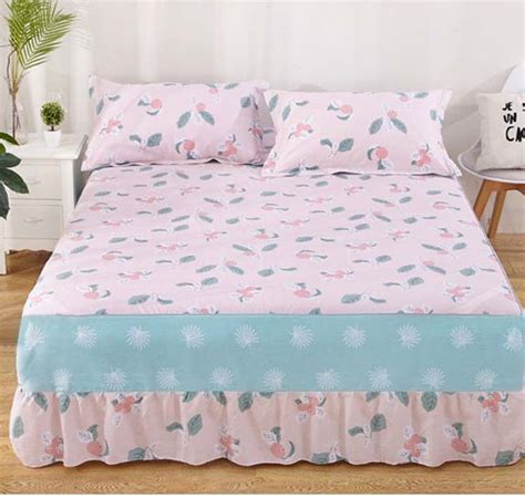 pink flower with elastic bandage bed skirt cotton bed cover fitted sheet size