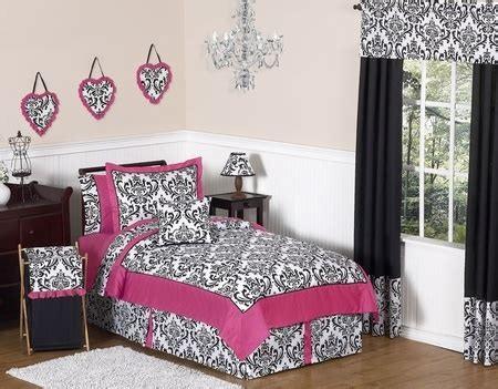 pink black white damask bedroom polyvore isabella pink black white damask girls bedding twin 4