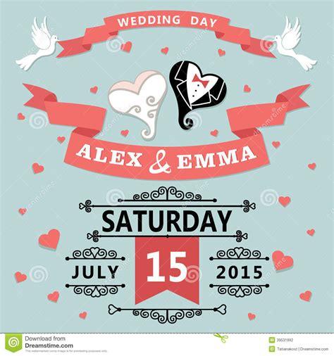 wedding invitation with cartoon hearts retro stock vector