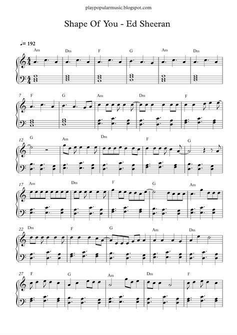 ed sheeran chord shape of you free piano sheet music shape of you ed sheeran pdf your