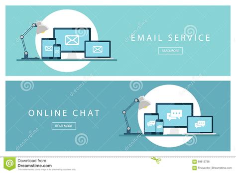 design email online set of flat design concepts email service and online chat
