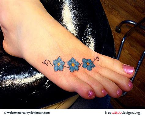 Foot Tattoos Blue Flower On Foot