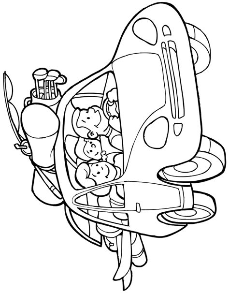 vacation coloring page car trip with fully loaded car