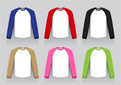 Kaos Flatt raglan shirt flat design free vector