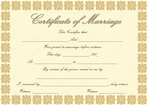 marriage certificate template golden edition