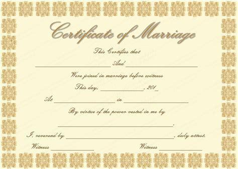 elegant marriage certificate template golden edition - Free Marriage Certificate Template