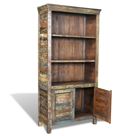 reclaimed wood bookshelf bookcase 3 shelves 2 doors
