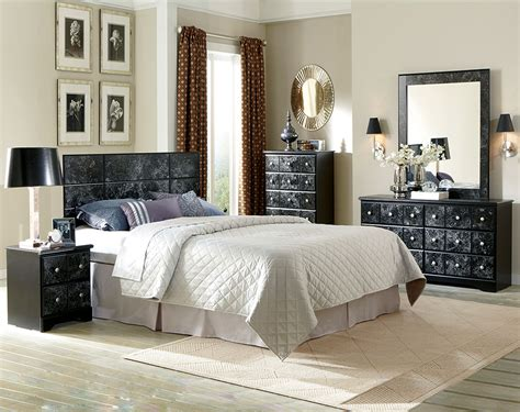 cheap bedroom furniture stores huey vineyard 4 piece sleigh bedroom set in black discount