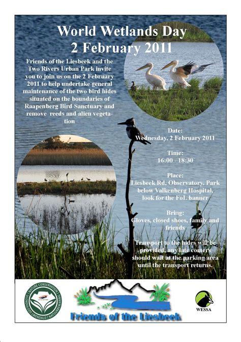 Celebrate World Wetlands Day 2 Feb With Free Wetlands Tours by World Wetlands Day 2 February 2011 Friends Of The Liesbeek