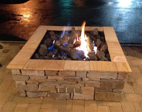 custom square outdoor gas log pit by s gas