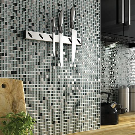 wickes bathroom border tiles wickes glitter black white glass mix mosaic tile 308 x 330mm wickes co uk
