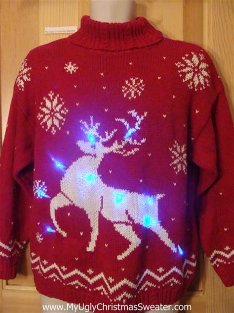 reindeer vintage 80s light up christmas sweater