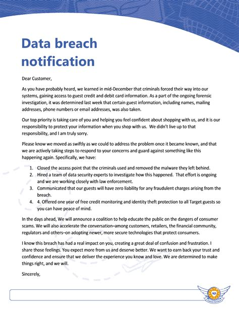 Credit Card Breach Notification Letter Breach Secure Now