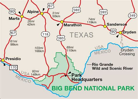 map of big bend texas map of big bend national park te