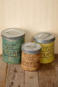 Rustic Kitchen Canisters Metal Canisters Set Of 3