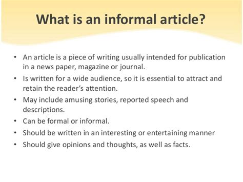 What Is An Essay by How To Write An Informal Article
