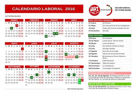 Calendario Laboral 2016 Calendario Laboral De La Estiba De Bilbao En 2016