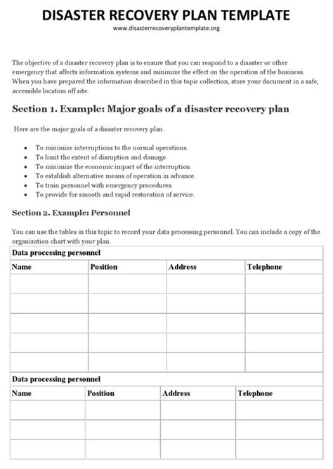 free disaster recovery plan template disaster recovery plan template 1 for free page
