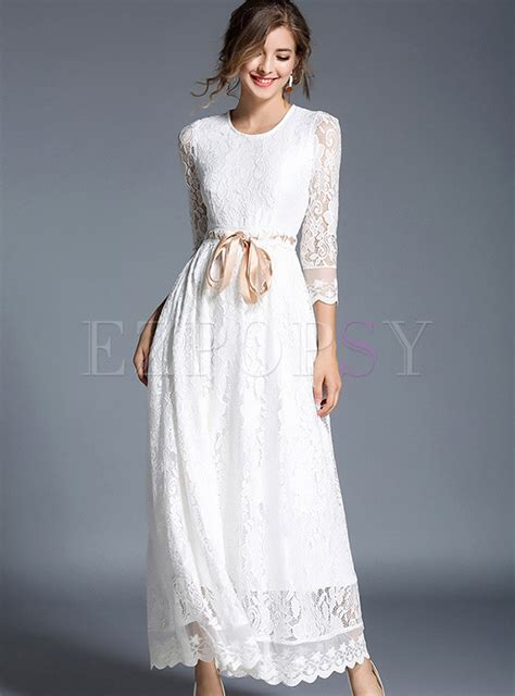 Hollow Out Dress white tie waist hollow out maxi dress ezpopsy