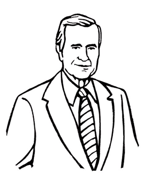 George W Bush Coloring Page by Coloring Pages Of President George Bush Free Printable