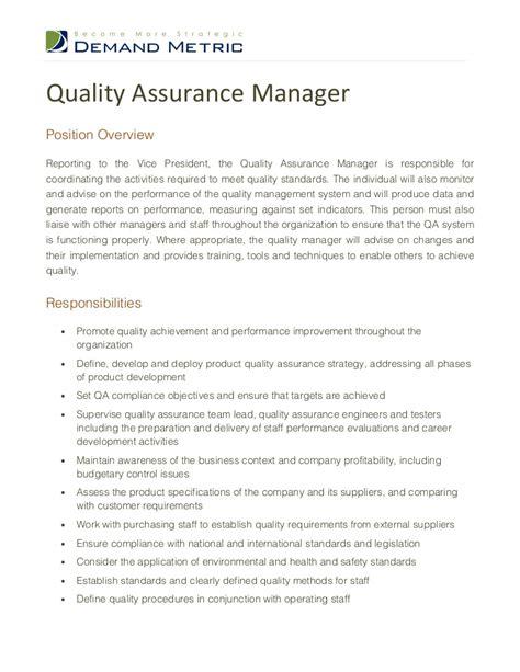 qa cv sles quality assurance manager description