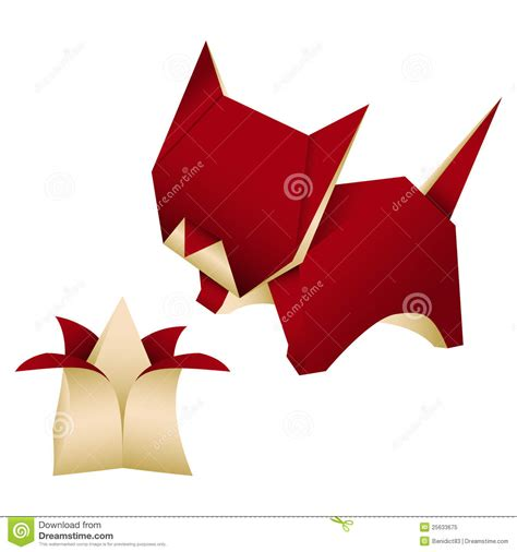 Kitten Origami - origami cat vector cartoondealer 81489391