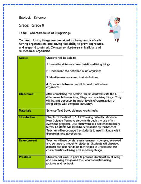 science lesson plan sle