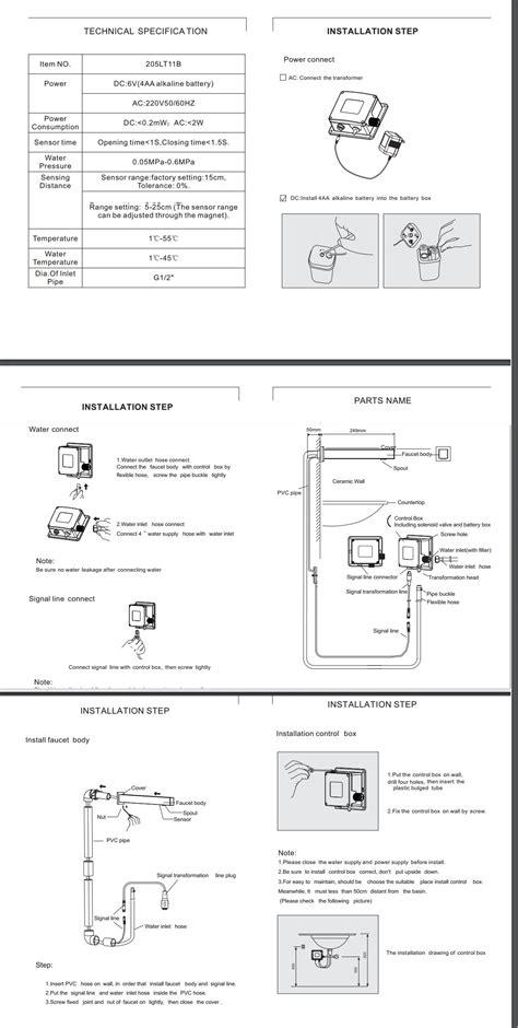 installation instructions  wall mounted bath sensor faucet