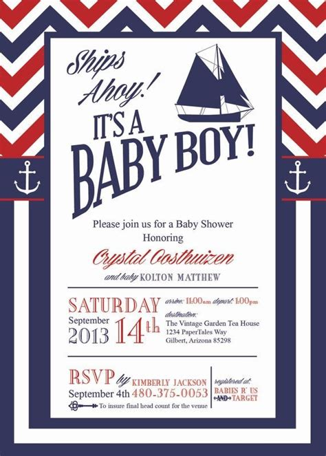 Baby Shower Nautical Theme Invitations by Nautical Theme Baby Shower Invitations Templates