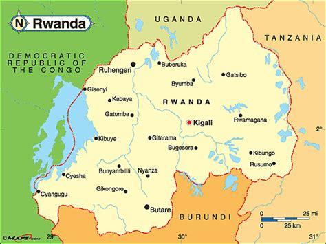 rwanda map ruanda politische karte