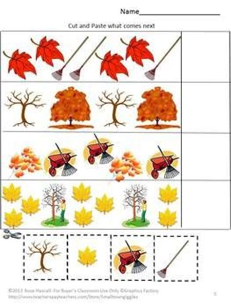 Fall Cut And Paste Worksheets by Fall Worksheets For Kindergarten Fall Math Packet For