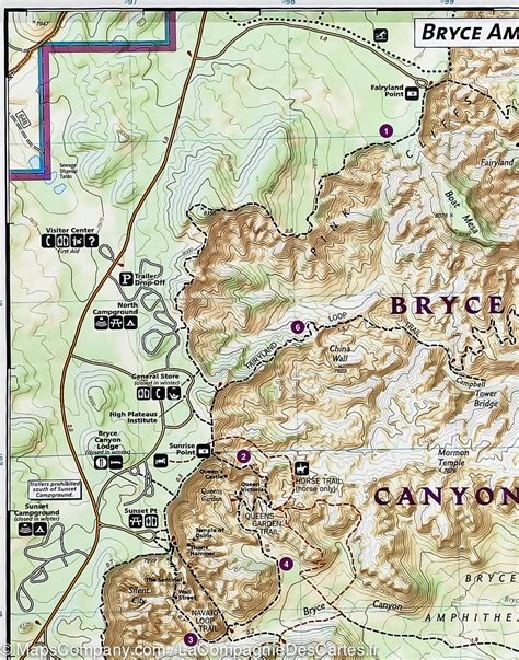 bryce hiking map trail map of bryce national park utah 219
