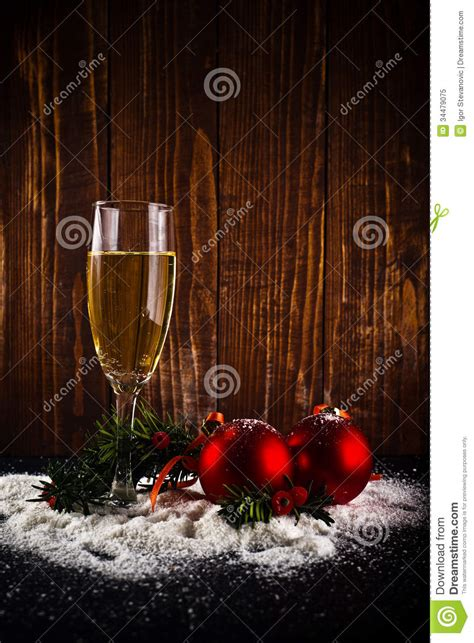 wine new year happy new year white wine and balls stock image